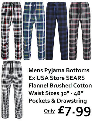 Ex Store Mens Brushed Cotton Pyjama Lounge Trousers