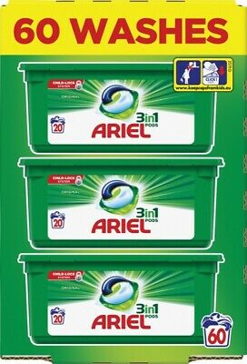 Ariel 3-in-1 Original Washing Pods Liquid Gel Laundry Capsules - 60 Washes