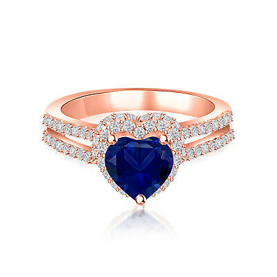 10K Rose Gold Finish 2.00 ct Blue Sapphire Hearts Shape Engagement Wedding Ring