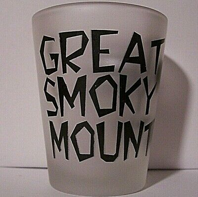 Great Smoky Mountains Frosted Shot Glass!  With 2 Bears! Tennesee & N. Carolina!
