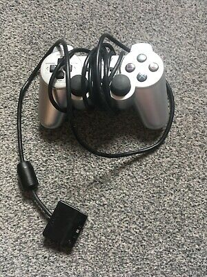 Playstation 2 Ps2 Official Silver Controller Model No Scph-10010 Tested