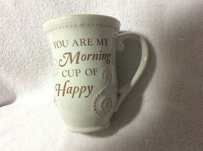 """Lenox French Perle  White 12oz. Mug """"You Are My Morning Cup Of Happy"""" New"""
