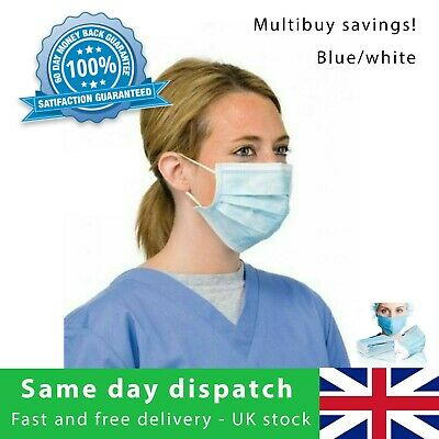 10 Disposable Surgical Face Mask For Virus & Flu Protection + Elastic Ear Loop