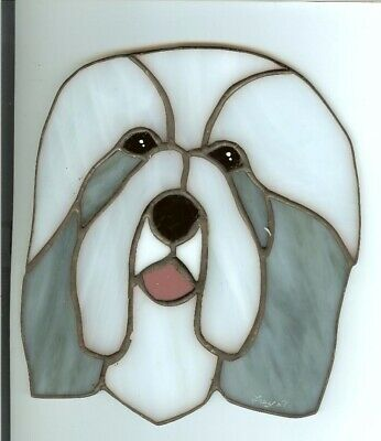 Stained Glass Dog -Bearded Collie - Blue