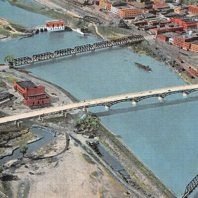 Ottumwa Bridge and Viaduct Iowa Des Moines River Aerial View Railroad Postcard