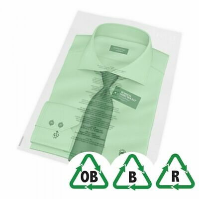 """12"""" x 14.5"""" - 305 x 370mm Oxo-Biodegradable Clear Garment Bags 11 languages"""