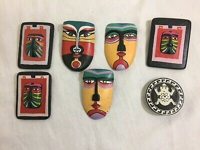 7 Hand Carved and Painted  Wooden Pendant African Design