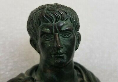 Ancient Roman Republic Empire First Emperor Augustus Bronze & Marble Bust Statue
