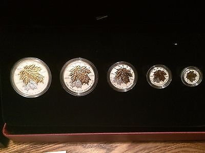 2014 Maple Leaf Fractional 5 Coins Set Pure .9999 Silver. BU