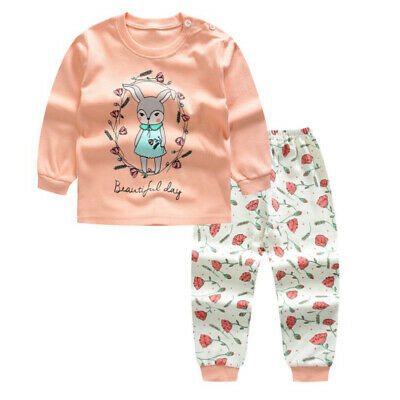 Boys Girls Toddler Kids Outfit Set Pajamas Sleepwear Pyjamas Nightwear 0-4Y