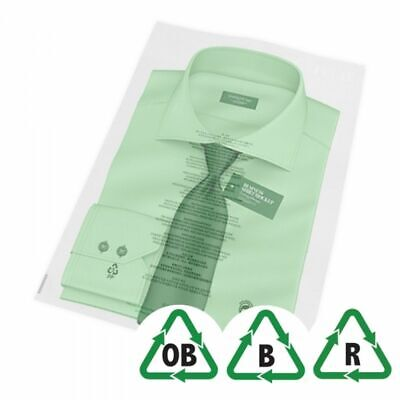 """14"""" x 17"""" + Lip 355 x 431mm Oxo-Biodegradable Clear Garment Bags 11 languages"""