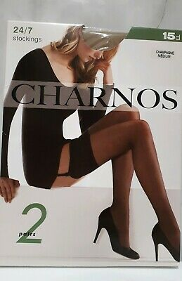 2 pair pack  Charnos 24/7 15 den. stockings. Champagne. Medium.