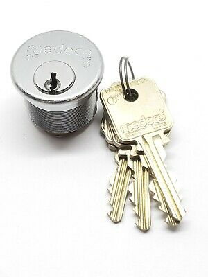 medeco biaxial mortise cylinder, 5 pin, 4 keys, 26d finish, locksmith