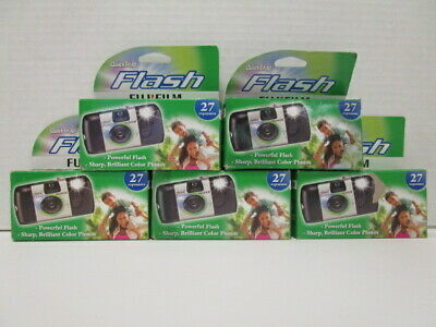 5 Fujifilm Quicksnap Flash Cameras 800 Speed 27 Exposures Exp 8/19+ Nt 7139