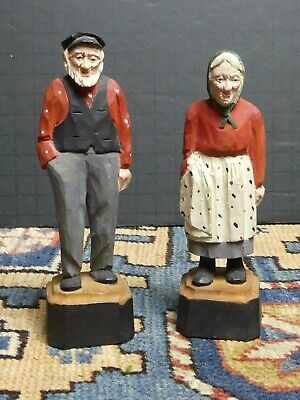 Vintage Hand Carved /Painted Wood Husband Wife Folk Carving Roland L Canada