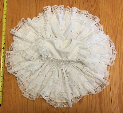 Vtg Girls Dress Infant Toddler All White Full Circle Frills Tiers Lace USA SWEET