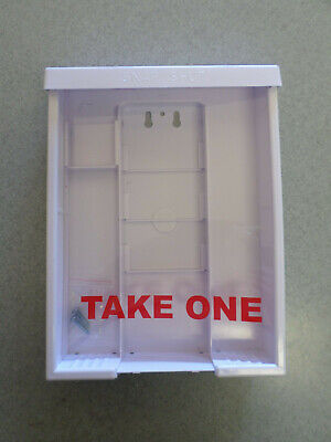 """3 pack of NEW """"Take One"""" Snap Shut White Plastic 8.5 x 11"""" Flyer Boxes."""