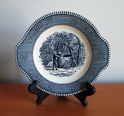 """Royal Currier & Ives Salad Plate Blue Handles Drinking From The Well 7.25"""" USA"""