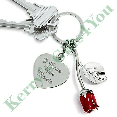 Personalised Valentines Day Red Rose Keyring - Gift For Her Him Wife Husband