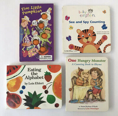 Lot Of 4 BOARD BOOKS for Babies & Children Daycare Preschool ABC's, Counting