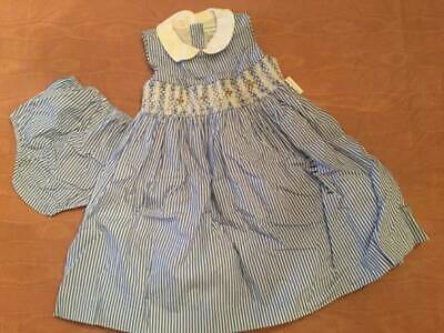 NWT Ralph Lauren Baby Girl Blue Striped Smocked Dress Sz 24 Months