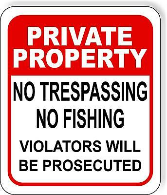 No Trespassing Sign 18 x 12 Inches Rust Free Aluminum Private Property Legend Red on White Trespassers Violators Warning