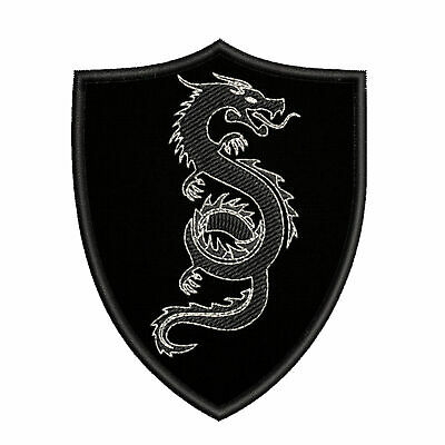 "Chinese Dragon Medieval Coat of Arms 3.5"" Embroidered Iron or Sew-on Patch"