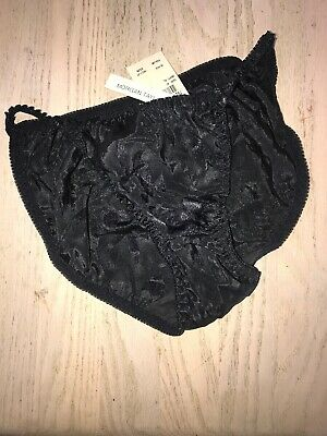 Vtg NWT Morgan Taylor Satin String Bikini Panties  Floral Black size medium