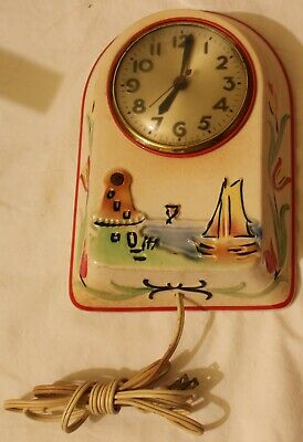 Vintage Sessions U.s.a. Windmill Wall Clock Ceramic Embossed