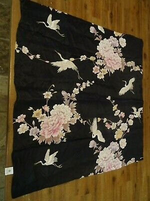 100% silk scarf made in Japan Beautiful Cranes and flowers on black background