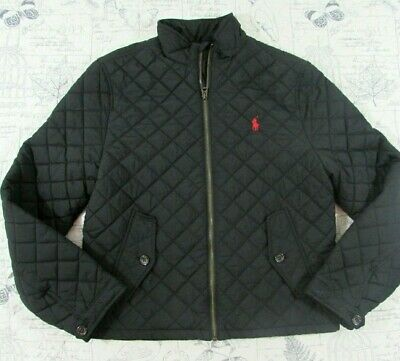 Ralph Lauren Polo Girls Diamond Quilted Jacket Black Zip Front Red Pony L 14 16