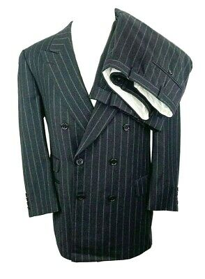 Samuelsohn Dbl Breasted Mens 43R Suit W36 L28 Pleat Wool Cashmere Gray Pinstripe