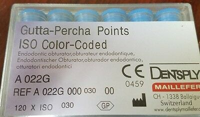 Gutta Percha Points Size 30 Dentsply Maillefer ISO Color Coded Box of 120