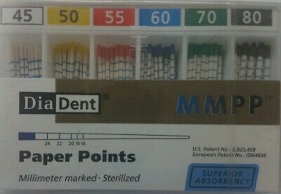 Diadent Absorbent Paper Points Size 45-80 ISO Color Coded Box of 200