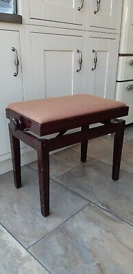 Traditional style Mahogany Colour Wooden  Gloss Rise And Fall Wide Piano Stool