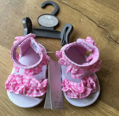 BNWT - Cute Mothercare Baby Girl Sandals - Age 1-3 Months