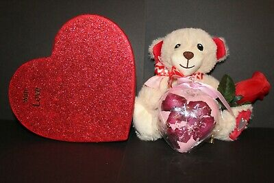 Valentines gift, soft Teddy bear,in red heart box with rose & heart bath bomb