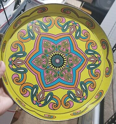 """Daher Decorated Ware Round Tin Serving Tray 12.5"""" Wide MCM psychedelic Star"""