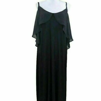 NY Collection Womens Cold Shoulder Maxi Dress Ruffled Black Plus Sizes