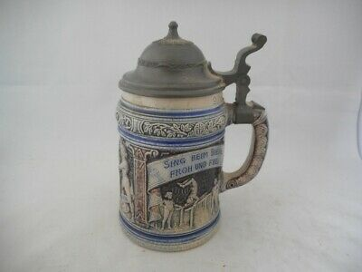 Antique German or Austrian Pottery Beer Stein with Pewter Lid