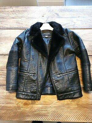 Girls River Island Aviator Black Leather Fur Collar Jacket Biker Age 8 boys