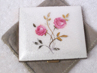 Vintage White Pink Rose Enamel Guilloche Compact w/ mirror,  powder & sleeve