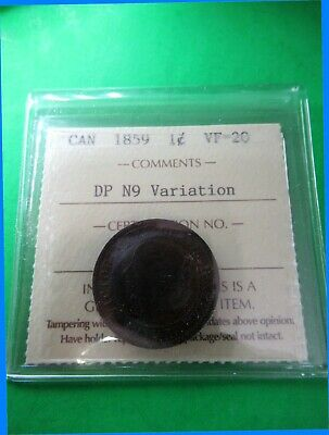 Canada 1 cent 1859 ICCS VF-20 DP N9 Variation. A superb old coin!