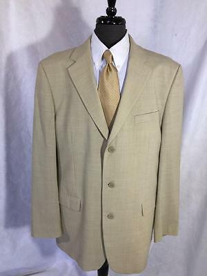 Andrew Fezza Men's Beige Wool Linen Blend 3 Button Blazer Jacket Sport Coat 46L
