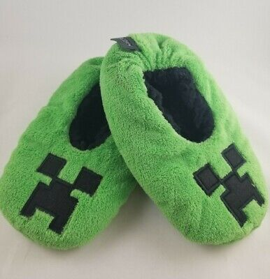 Minecraft Slippers Toddler Medium 9-12 Two Sets Twins Creeper Mojang New Fuzzy