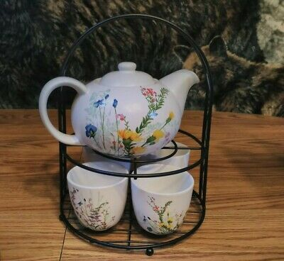 PIER 1 IMPORTS  7 pc Tea Set Floral Teapot 4 Cups Metal Stand