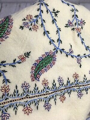 "Paisley Hand Embroidered Tablecloth Floral Vines Fringe Off White 66"" x 24"""