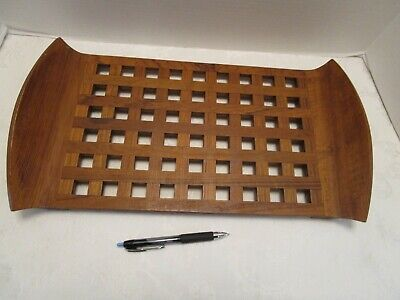 "Mid Century Jens Quistgaard JHQ Dansk Designs Teak Wood Lattice Tray 18 ¼"" W Vtg"