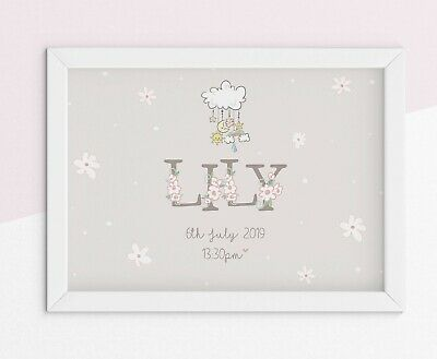 Personalised new born Baby Name Birth nursery print boy or girl christening gift