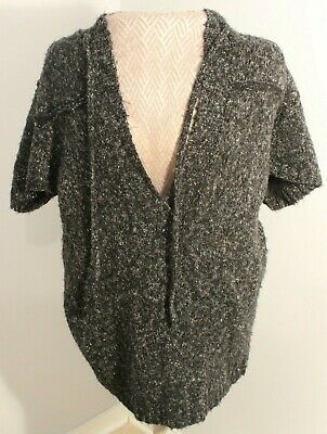 Maurices Gray Hooded Short Sleeve Button Cardigan Sweater Size XL